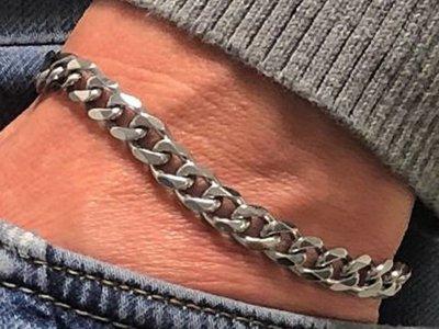 Bukovsky Stainless Steel Jewelry Stalen Heren Armband Bukovsky S7550 Extra Small - Gourmette - Gepolijst - Breedte: 0,6 cm - Dikte: 0,2 cm - Gratis Verzending