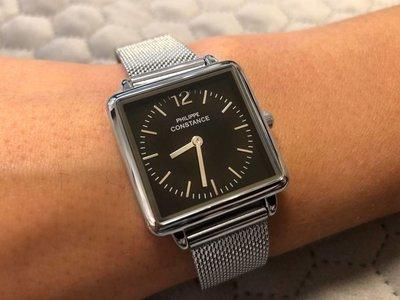"""Stalen Philippe Constance Horloge Philippe Constance Dameshorloge """"Square"""" Medium - Staal - Zilverkleurige Mesh Band - Zwarte Wijzerplaat - 3480"""