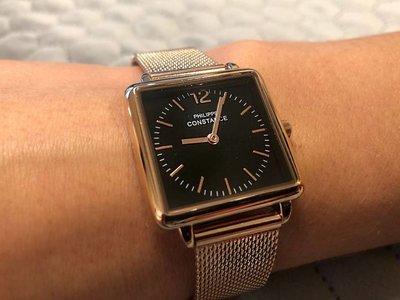 """Stalen Philippe Constance Horloge Philippe Constance Dameshorloge """"Square"""" Medium - Staal - Rosékleurige Mesh Band - Zwarte Wijzerplaat - 3770"""