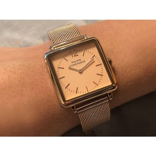 """Stalen Philippe Constance Horloge Philippe Constance Dameshorloge """"Square"""" Medium - Staal - Rosékleurige Mesh Band - Rosé Wijzerplaat - 3740"""