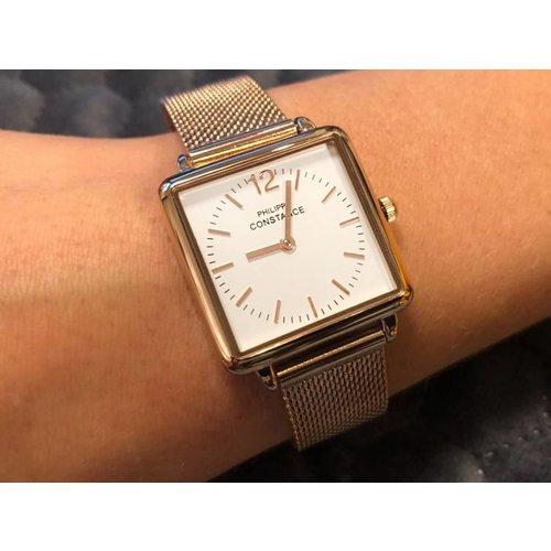 """Stalen Philippe Constance Horloge Philippe Constance Dameshorloge """"Square"""" Medium - Staal - Rosékleurige Mesh Band - Witte Wijzerplaat - 3750"""