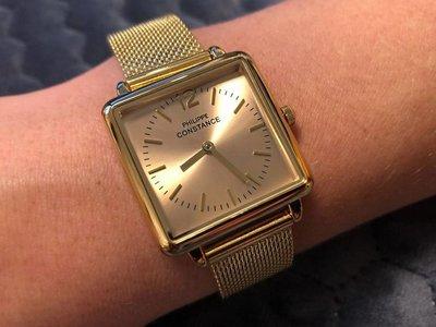 """Stalen Philippe Constance Horloge Philippe Constance Dameshorloge """"Square"""" Medium - Staal - Goudkleurige Mesh Band - Goud Wijzerplaat - 3920"""