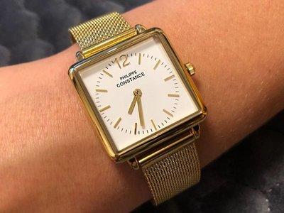 """Stalen Philippe Constance Horloge Philippe Constance Dameshorloge """"Square"""" Medium - Staal - Goudkleurige Mesh Band - Witte Wijzerplaat - 3970"""
