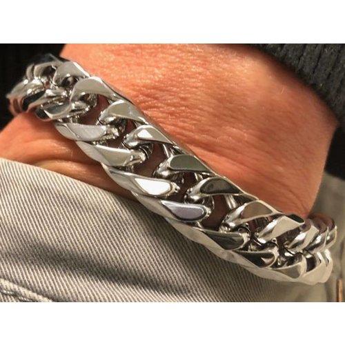 Bukovsky Stainless Steel Jewelry Stalen Heren Schakelarmband Bukovsky S4730 - Gourmette - Gepolijst - Breedte: 1,3 cm - Dikte: 0,5 cm - Gratis Verzending