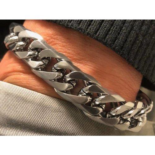 Bukovsky Stainless Steel Jewelry Stalen Heren Schakelarmband Bukovsky S4730 - Gourmette - Geborsteld - Breedte: 1,3 cm - Dikte: 0,5 cm - Gratis Verzending
