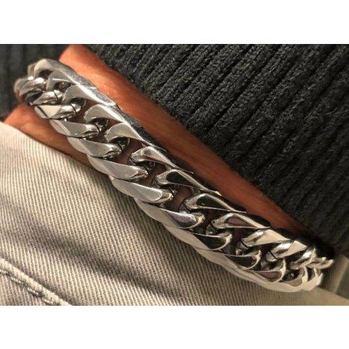 Bukovsky Stainless Steel Jewelry Stalen Heren Schakelarmband Bukovsky S4770 - Gourmette - Gepolijst - Breedte: 1,1 cm - Dikte: 0,4 cm - Gratis Verzending