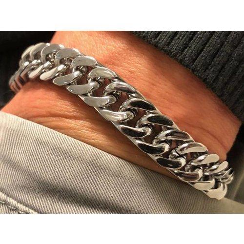 Bukovsky Stainless Steel Jewelry Stalen Heren Schakelarmband Bukovsky S4720 - Gourmette - Gepolijst - Breedte: 1,1 cm - Dikte: 0,4 cm - Gratis Verzending