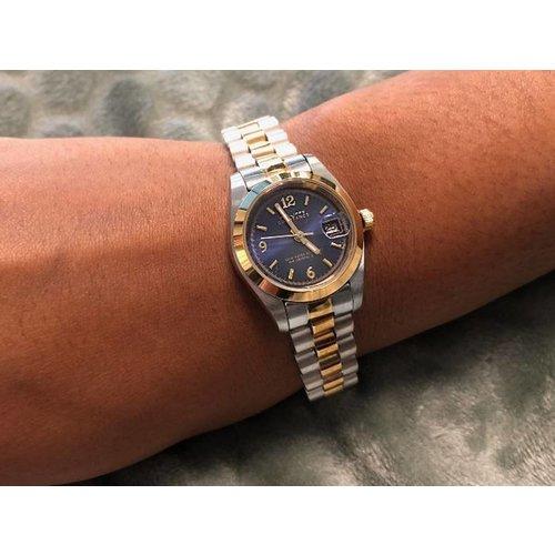 Stalen Philippe Constance Horloge Philippe Constance Stalen Dameshorloge - 6265 Small - Bicolor - Goud - Zilver - Indigo Blauw - Schakelband - Datumaanduiding
