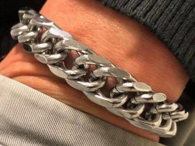 Bukovsky Stainless Steel Jewelry Stalen Heren Schakelarmband Bukovsky S7760 - Gourmette - Gepolijst - Breedte: 1,1 cm - Dikte: 0,4 cm - Gratis Verzending