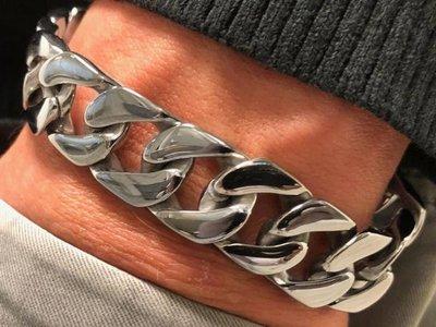 Bukovsky Stainless Steel Jewelry Stalen Heren Schakelarmband Bukovsky S4750 - Gourmette - Gepolijst - Breedte: 1,6 cm - Dikte: 0,4 cm - Gratis Verzending