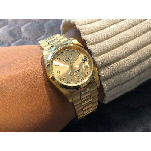Stalen Philippe Constance Horloge Philippe Constance Dameshorloge - 7365 Medium - Staal - Goud - Metallic - Cijfers - Schakelband - Datumaanduiding