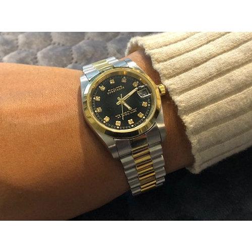 Stalen Philippe Constance Horloge Philippe Constance Stalen Dameshorloge - 7395 Medium - Bicolor - Goud - Zilver - Zwart - Strass - Schakelband - Datumaanduiding