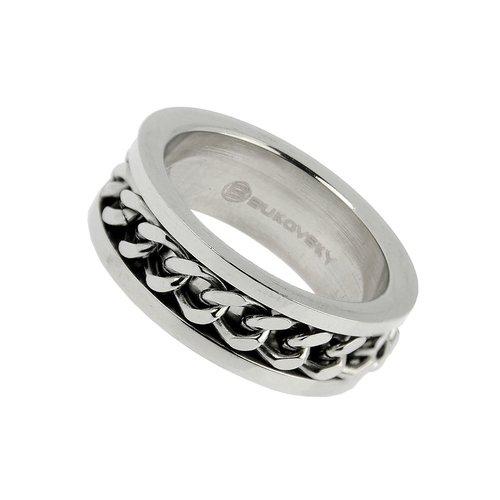 Bukovsky Stainless Steel Jewelry Stalen Bukovsky Ring Legend met Gourmette Schakels - 316L Gepolijst Staal - Vanaf € 25,00 - Gratis Verzending