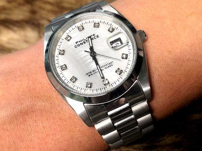 Stalen Philippe Constance Horloge Philippe Constance Dameshorloge Staal - 4720 Large - Zilver - Parelmoer - Strass - Datumaanduiding - Gratis Verzending