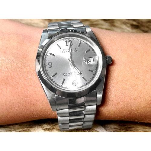 Stalen Philippe Constance Horloge Philippe Constance Dameshorloge Staal - 4035 Large - Zilver - Metallic Plaat - Datumaanduiding - Gratis Verzending