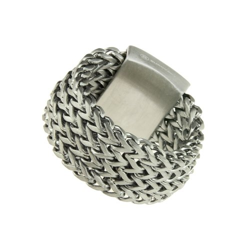 Bukovsky Stainless Steel Jewelry Stalen Bukovsky Heren Ring Excellent met visgraatschakels  - 316L Geborsteld Staal - Vanaf € 28,50 - Gratis Verzending