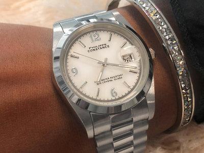 Stalen Philippe Constance Horloge Philippe Constance Dameshorloge Staal - 4040 Large - Zilver - Parelmoer - Datumaanduiding - Gratis Verzending
