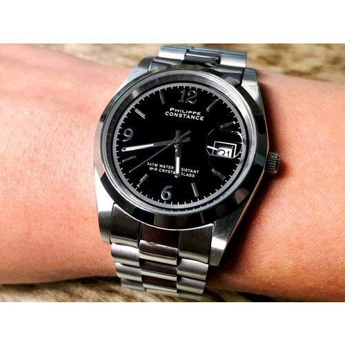 Stalen Philippe Constance Horloge Philippe Constance Dameshorloge - 4020 Large - Staal - Zilver - Zwart - Datumaanduiding - Gratis Verzending