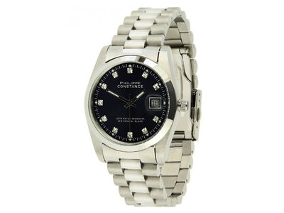 Stalen Philippe Constance Horloge Philippe Constance Dameshorloge - 4710 Large - Staal - Zilver - Zwart - Strass - Datumaanduiding - Gratis Verzending
