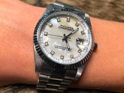 Stalen Philippe Constance Horloge Philippe Constance  Dameshorloge - 4460 Large - Staal - Zilver - Parelmoer - Strass - Serrated - Gratis Verzending