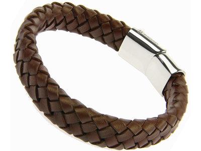 Bukovsky Stainless Steel Jewelry Leder/Staal Junior Armband Bukovsky SL4920- Donkerbruin- Gevlochten Leer - Gepolijste 316L Stalen Sluiting