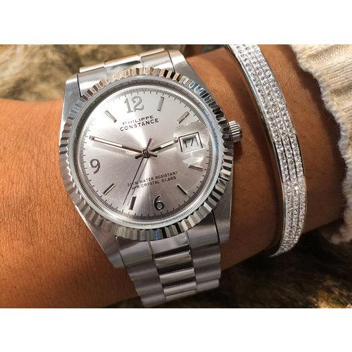 Stalen Philippe Constance Horloge Philippe Constance Dameshorloge - 4760 Large - Staal - Zilver  - Serrated - Datumaanduiding