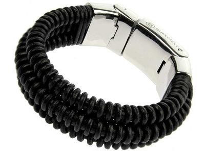 Bukovsky Stainless Steel Jewelry Leder/Staal Heren Armband Bukovsky SL4970- Zwart- Gevlochten Leer - Gepolijste 316L Stalen Sluiting - Gratis verzending
