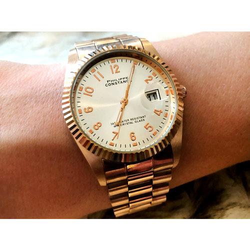 Stalen Philippe Constance Horloge Philippe Constance - Dameshorloge - 4550 Large - Staal - Rosé  - Serrated - Datumaanduiding