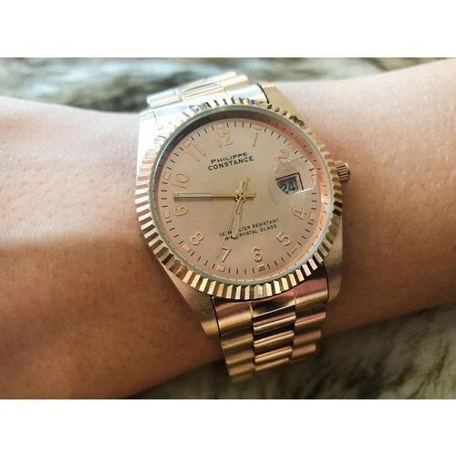 Stalen Philippe Constance Horloge Philippe Constance - Dameshorloge - 4565 Large - Staal - Rosé - Serrated - Datumaanduiding
