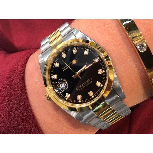 Stalen Philippe Constance Horloge Philippe Constance Dameshorloge Staal - 2150 Large - Staal - Bicolor - Goud - Zilver - Strass - Datumaanduiding - Gratis Verzending