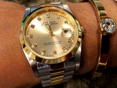 Stalen Philippe Constance Horloge Philippe Constance Dameshorloge Staal - 8750 Large - Staal - Bicolor - Goud - Zilver - Strass - Datumaanduiding - Gratis Verzending