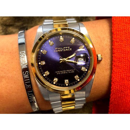 Stalen Philippe Constance Horloge Philippe Constance Dameshorloge Staal - 8740 Large - Staal - Bicolor - Goud - Zilver - Strass - Datumaanduiding - Gratis Verzending