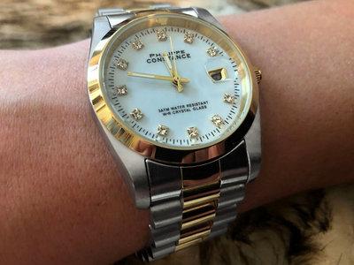 Stalen Philippe Constance Horloge Philippe Constance Dameshorloge Staal - 2120 Large - Staal - Bicolor - Goud - Zilver - Strass - Datumaanduiding - Gratis Verzending