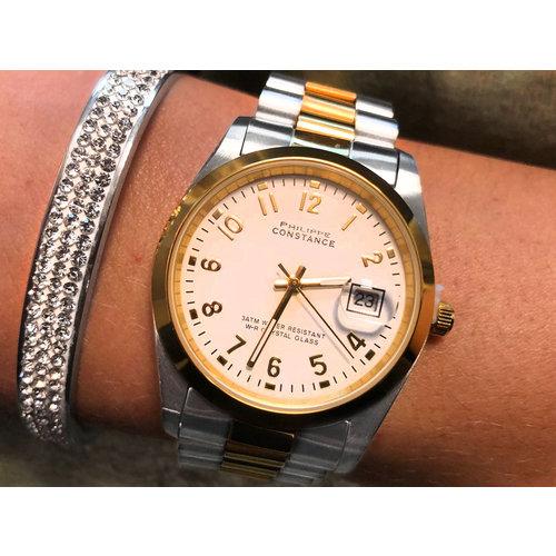 Stalen Philippe Constance Horloge Philippe Constance Dameshorloge Staal - 6750 Large - Staal - Bicolor - Goud - Zilver - Datumaanduiding - Gratis Verzending