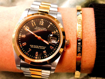 Stalen Philippe Constance Horloge Philippe Constance Dameshorloge Staal - 9150 Large - Staal - Bicolor - Goud - Zilver - Datumaanduiding - Gratis Verzending