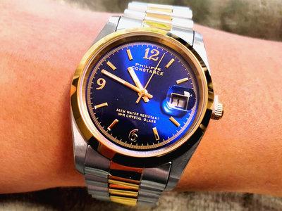 Stalen Philippe Constance Horloge Philippe Constance Dameshorloge Staal - 6790 Large - Staal - Bicolor - Goud - Zilver - Donkerblauw - Datumaanduiding - Gratis Verzending