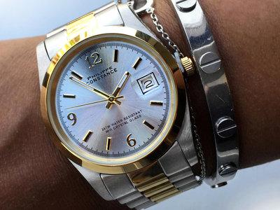 Stalen Philippe Constance Horloge Philippe Constance Dameshorloge Staal - 2115 Large - Staal - Bicolor - Goud - Zilver - Datumaanduiding - Gratis Verzending