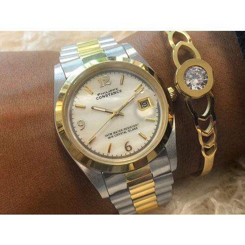Stalen Philippe Constance Horloge Philippe Constance Dameshorloge Staal - 2105 Large - Staal - Bicolor - Goud - Zilver - Parelmoer - Datumaanduiding - Gratis Verzending