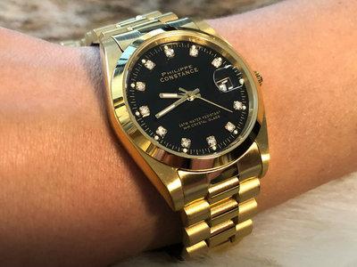 Stalen Philippe Constance Horloge Philippe Constance Dameshorloge  Staal- 8590 Large - Goud - Zwart - Strass - Datumaanduiding - Gratis Verzending