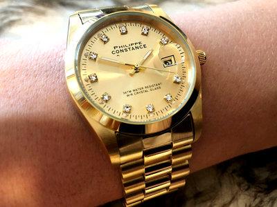 Stalen Philippe Constance Horloge Philippe Constance Dameshorloge Staal - 6160 Large - Goud - Strass - Datumaanduiding - Gratis Verzending