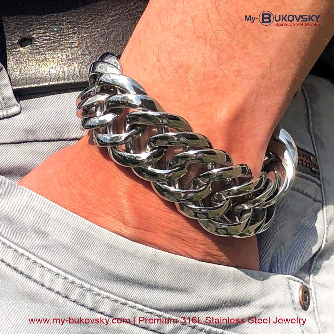 rvs-stalen-heren-men-bracelet-mannen-schakelarmband-mat-geborsteld-prestigexl-bukovsky-baksluiting-18cm-19cm-20cm-21cm-22cm-23cm-24cm