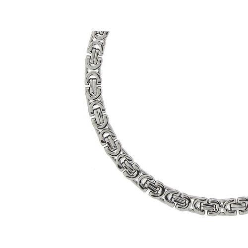 Bukovsky Stainless Steel Jewelry Bukovsky Stalen Heren Ketting SH7470 - Platte Koningsschakel - Large - Breedte: 0,8 cm - Dikte: 0,4 cm - 4 Lengtematen vanaf € 47,50