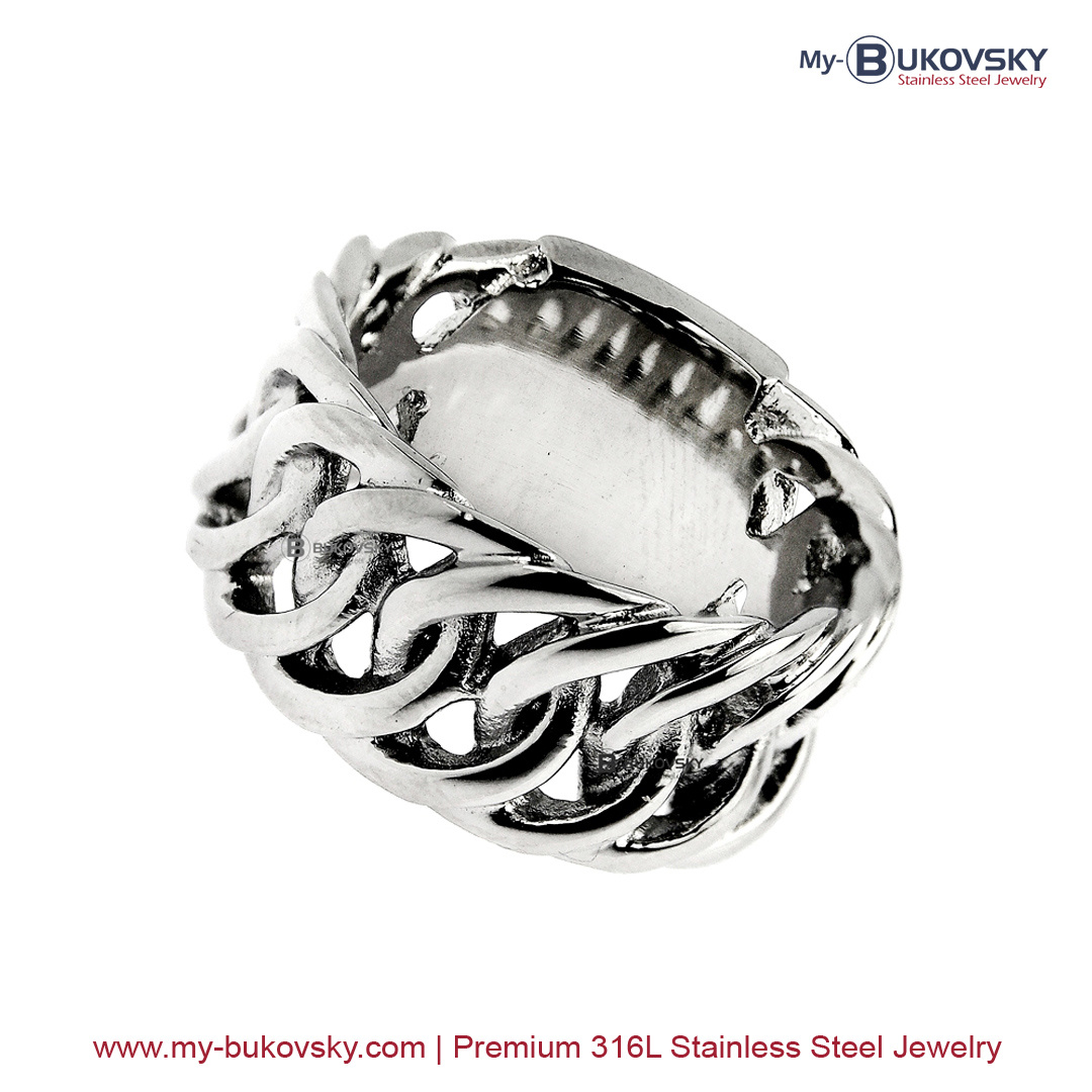 De stijlvolle Bukovsky ring Prestige met vastzittende Gourmette schakels. Verkrijgbaar in 8 maten. Met twee jaar kleurgarantie en gratis verzending.