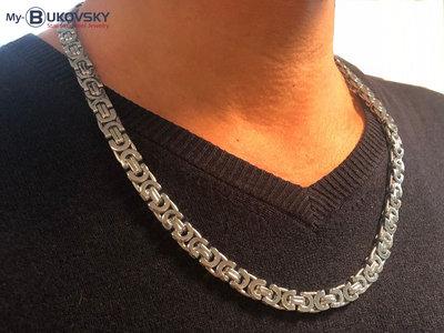 Bukovsky Stainless Steel Jewelry Bukovsky Stalen Heren Ketting SH7470 - Platte Koningsschakel - Large - Breedte: 0,8 cm - Dikte: 0,4 cm - 4 Lengtematen vanaf € 45,00