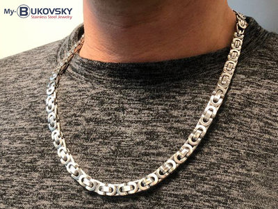 Bukovsky Stainless Steel Jewelry Bukovsky Stalen Heren Ketting SH7470 - Platte Konings - Large - Mat - Breedte: 0,8 cm - Dikte: 0,4 cm - 4 Lengtematen vanaf € 45,00