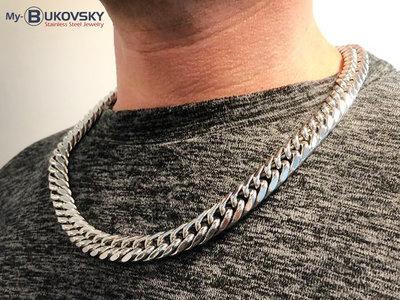 Bukovsky Stainless Steel Jewelry Bukovsky Stalen Heren Ketting SH7870 - Gourmette - Breedte: 1,3 cm - Dikte: 0,6 cm - 3 Lengtematen