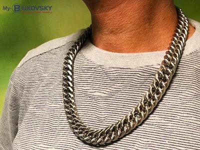 Bukovsky Stainless Steel Jewelry Extra Brede Bukovsky Stalen Heren Ketting SH7890 XXL - Gourmette - Breedte: 1,9 cm - Dikte: 0,9 cm - 3 Lengtematen vanaf € 89,50