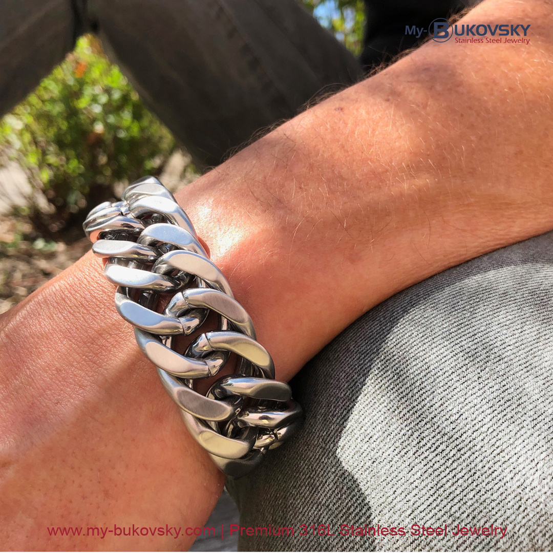 Maandaanbieding april 2021 - Stalen Bukovsky armband Chase XL nu met 15% korting - My Bukovsky armband staal