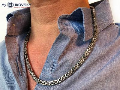 Bukovsky Stainless Steel Jewelry Bukovsky Stalen Heren Ketting SH7470 - Platte Koningsschakel - Medium - Breedte: 0,7 cm - Dikte: 0,3 cm - 4 Lengtematen vanaf € 39,50