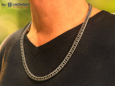 Bukovsky Stainless Steel Jewelry Bukovsky Stalen Heren Ketting SH9210 - Shiny - Black Oiled - Lengte: 60 cm - Breedte: 0,7 cm - Dikte: 0,3 cm